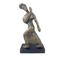 BIG Vintage 1950s 60s One of a Kind Hand Cast Bronze Modernist Brutalist Dancer Design SCULPTURE