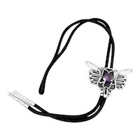 BIG 1950s Miguel Garcia Martinez Taxco Handmade Sterling & Amethyst Mexican Modernist BOLO TIE