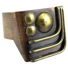 HUGE 1960s 70s Signed Handmade Mixed Metals Copper & Brass Geometric Modernist BRACELET