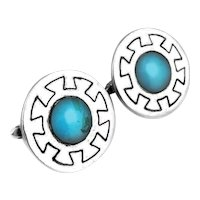 BIG 1950s 60s Felipe Martinez Piedra Y Plata Taxco Sterling & Turquoise Mexican Modernist CUFFLINKS