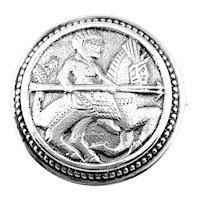 RARE Antique c.1900 David Andersen Norway 830 Silver Dragestil Viking Knight Brooch PIN