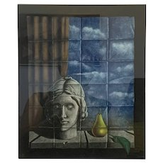 ORIGINAL Signed Dated Numbered Mezzotint Hachmi Azza Germany PRINT in Original Frame Matte & Under Glass