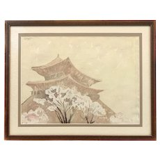 ORIGINAL 1950s 60s Signed Watercolor on Paper of Asian Pagoda ARTWORK in Period Frame Matte & Under Glass