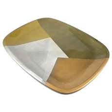 ICONIC 1950s Los Castillo Married Metals Metales Casados 5 Color Silver Brass & Copper Mexican Modernist TRAY