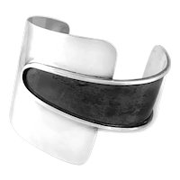 SPECTACULAR 1940s 50s Ed WIENER Handmade Sterling Silver Modernist Cuff BRACELET