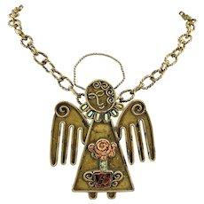 HUGE Unique Rare 1940s Matilde Poulat MATL Mexico Handmade Brass  & Copper ANGEL Pendant NECKLACE