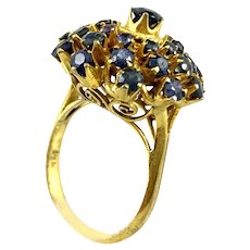 BIG Vintage 1960s Handmade 14K Gold & Sapphires Modernist Spiral Starburst RING - Size 6.5 US