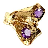 BIG 1970s SIGNED Ibsen & Weeke Denmark Handmade 14K Gold & Amethyst Modernist RING Size 7.5