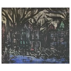 ORIGINAL 1950s Barbara Lee Bachmura Watercolor on Paper Expressionist Street Scene PAINTING