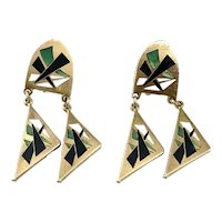 BIG Unique Vintage 1940s 50s Handmade Brass & Enamel Geometric Modernist EARRINGS