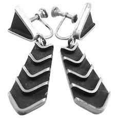 BIG Vintage 1950s SIGNED Handmade Sterling Screw Mid Century Modernist Screwback EARRINGS