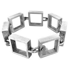 SUPERB 1950s 60s Hans Hansen Bent Gabrielsen Denmark Handmade Sterling Silver Modernist BRACELET