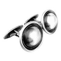 BIG Vintage 1950s Hans Hansen DENMARK Handmade Sterling Silver Modernist CUFFLINKS