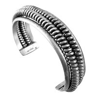 SUPERB 1950s Handmade Sterling Silver Machine Age Modernist Cuff BRACELET