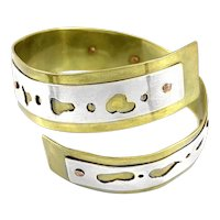 HUGE Vintage 1970s Handmade Mixed Metals Silver Copper & Brass Modernist BRACELET