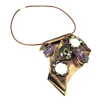 HUGE Vintage 1980s One of a Kind Handmade Mixed Metals Copper Bronze & Raw Amethyst Brutalist NECKLACE