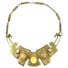HUGE 1960s 70s One of a Kind Handmade Mixed Metals Copper Bronze & Agate Brutalist NECKLACE