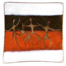 RARE 1950s 60s Bovano Cheshire Handmade Copper Enamel Modernist Figures TRAY