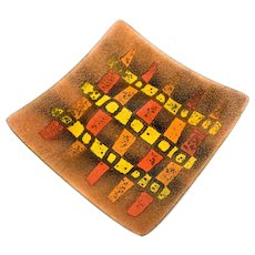 SUPERB 1950s 60s Bovano Cheshire Handmade Copper Enamel Abstract Modernist TRAY