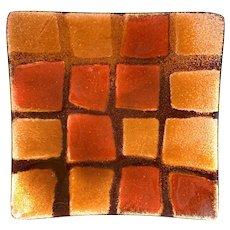 STRIKING 1950s 60s Bovano Cheshire Handmade Copper Enamel Geometric Modernist TRAY