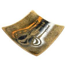 RARE 1950s 60s Bovano Cheshire Handmade Copper Enamel Modernist Musical Design TRAY
