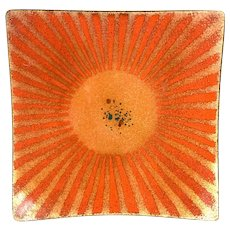 STRIKING 1950s 60s Bovano Cheshire Handmade Copper Enamel Modernist Sunburst Design TRAY