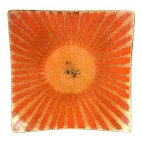 SUPERB 1950s 60s Bovano Cheshire Handmade Copper Enamel Modernist Sunburst Design TRAY