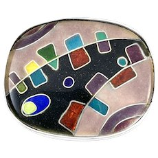 SUPERB Rare 1950s Hilda Kraus One of a Kind Sterling & Enamel Abstract Modernist BROOCH