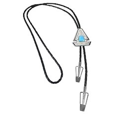 RARE 1980s Erika Hult de Corral Handmade Sterling Silver & Turquoise Mexican Modernist BOLO TIE