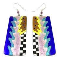 HUGE 1980s Handmade Sterling & Enamel Memphis Modernist Style Pierced EARRINGS