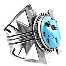 BIG Vintage 1970s 80s Lonnie PENTEWA Hopi Handmade Geometric Sterling & Turquoise RING Sz 9