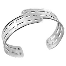 BIG 1990s Cynthia Gale NYC GeoArt Handmade Sterling Silver Geometric Modernist Cuff BRACELET