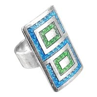 BIG 1960s Uno A Erre Italy Handmade Sterling Silver & Enamel Geometric Modernist RING - Size 5 US