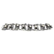 SUPERB 1970s RACHEL GERA Israel Handmade Sterling Silver & Pearls Geometric Modernist Brutalist Link BRACELET