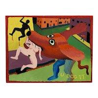 ORIGINAL 1983 John Patrick O'Brien Acrylic on Board East Village Pop Art Surrealist PAINTING
