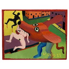 ORIGINAL 1983 John Patrick O'Brien Acrylic on Board East Village Pop Art Surrealist PAINTING