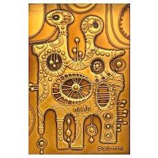 SUPERB 1960s 70s Hadar Aviv Israel Handmade Copper Enamel Modernist ARTWORK