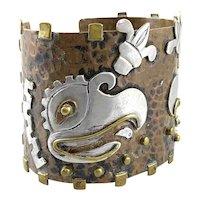 HUGE 1960s 70s MAYA Handmade Mixed Metals Mexican Modernist Aztec Parrots Cuff BRACELET
