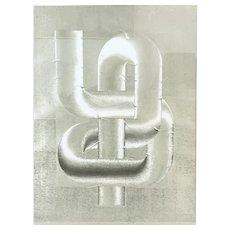 BIG 1960s 70s Patrick Dupré France Optical Maze Original Op Art Foil ETCHING