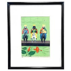 ORIGINAL 1980s Signed Numbered Los Tres Santos Reyes 1985 LITHOGRAPH in Period Frame