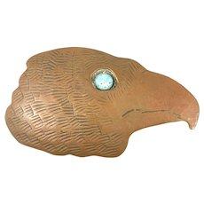 HUGE 1980s Signed Handmade Copper Southwestern Eagle Head Design BELT BUCKLE