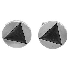 BIG 1950s Dunhill Handmade Sterling Silver Geometric Modernist CUFFLINKS