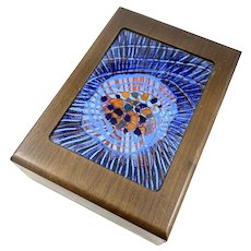 HUGE Rare 1960s Annemarie Davidson One of a Kind Handmade Copper Enamel Wood & Lucite Modernist Jewelry BOX