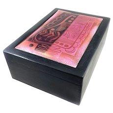 HUGE 1940s 50s Edward Winter Handmade Copper Enamel Art Deco to Modernist BOX