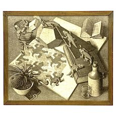 M. C. Escher Vintage 1943 Artwork 1960s 70s Puzzle Mounted and Framed Wall Hanging ARTWORK