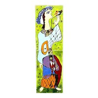 ORIGINAL 1960s 70s Miriam Shorr Enamel on Steel & Plexiglass Woman with Bird Modernist ARTWORK