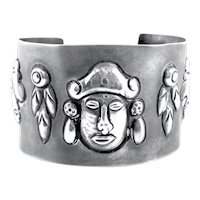BIG 1930s 40s Mexico Handmade Sterling pre Columbian-inspired NATIVE MASKS Design Cuff BRACELET
