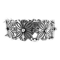 LOVELY Vintage 1940s 50s Rancho Alegre Mexico Handmade Sterling Silver Floral Link BRACELET