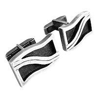 RARE Vintage 1950s Esther LEWITTES California Handmade Sterling Silver Modernist CUFFLINKS