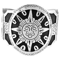 HUGE 1950s Los Ballesteros Taxco Handmade Sterling Silver Mexican Sun Solar Design BRACELET